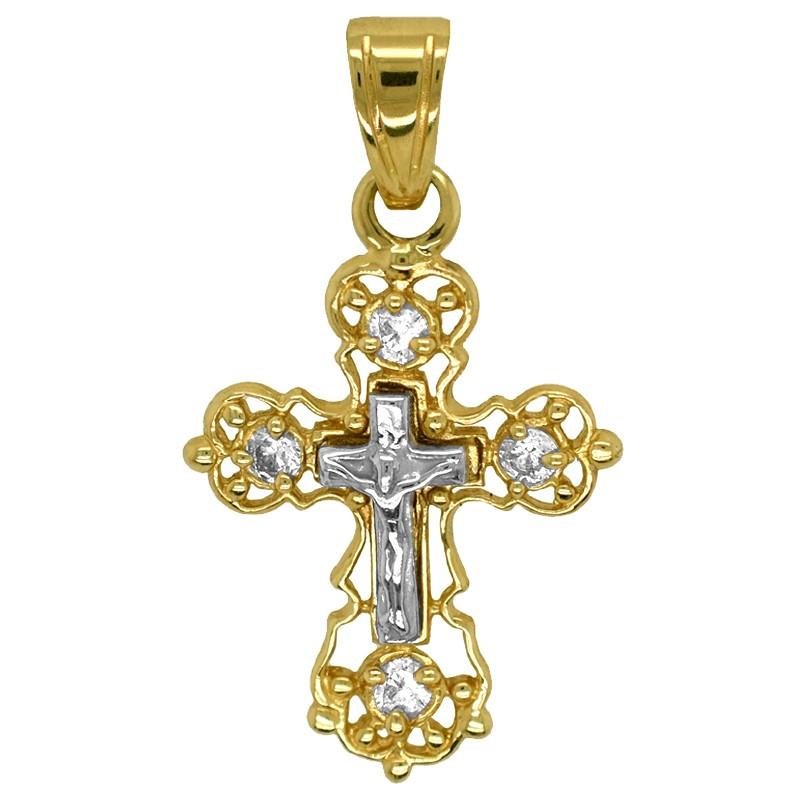 Złoty Krzyżyk prawosławny z cyrkoniami złoto 585