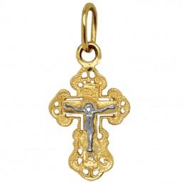 Złoty Krzyżyk prawosławny z białym złotem