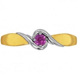Złoty pierścionek Love z ametystem z białym złotem S złoto 333