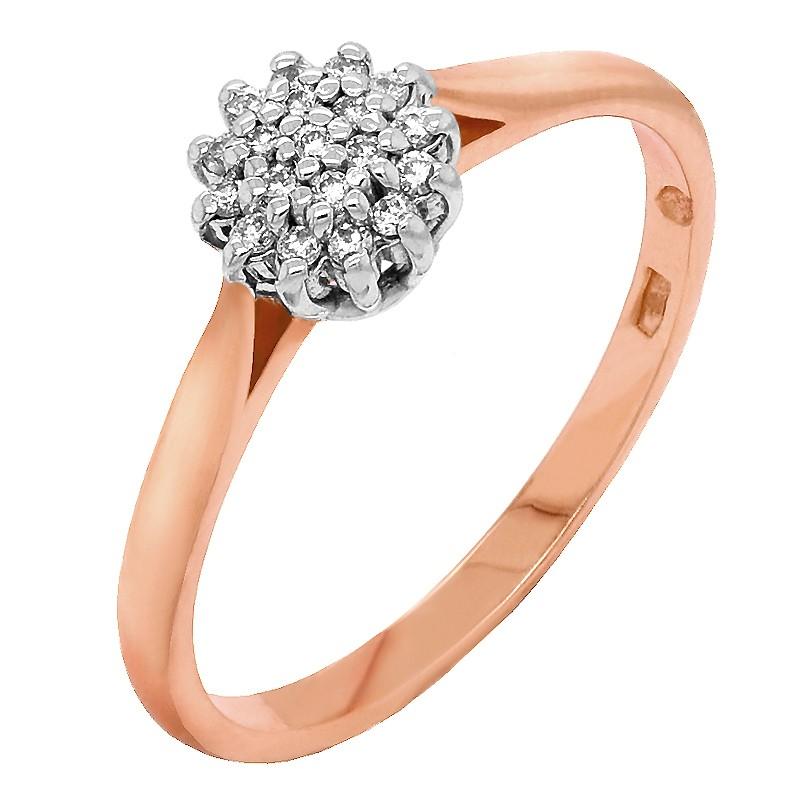 Złoty Pierścionek Zaręczynowy z Brylantami z Białym i różowym złotem w-401 złoto 585
