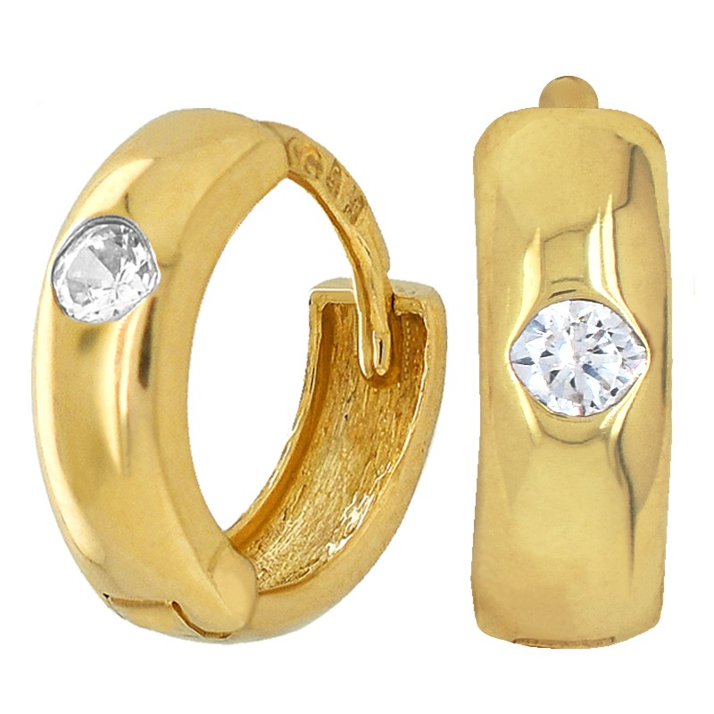 Złote kolczyki dla dziewczynki z cyrkonią typu koła pr.585