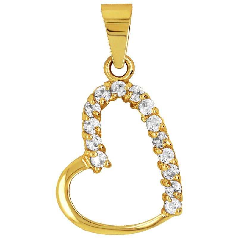 Złote Serce z cyrkoniami L  złoto pr. 585