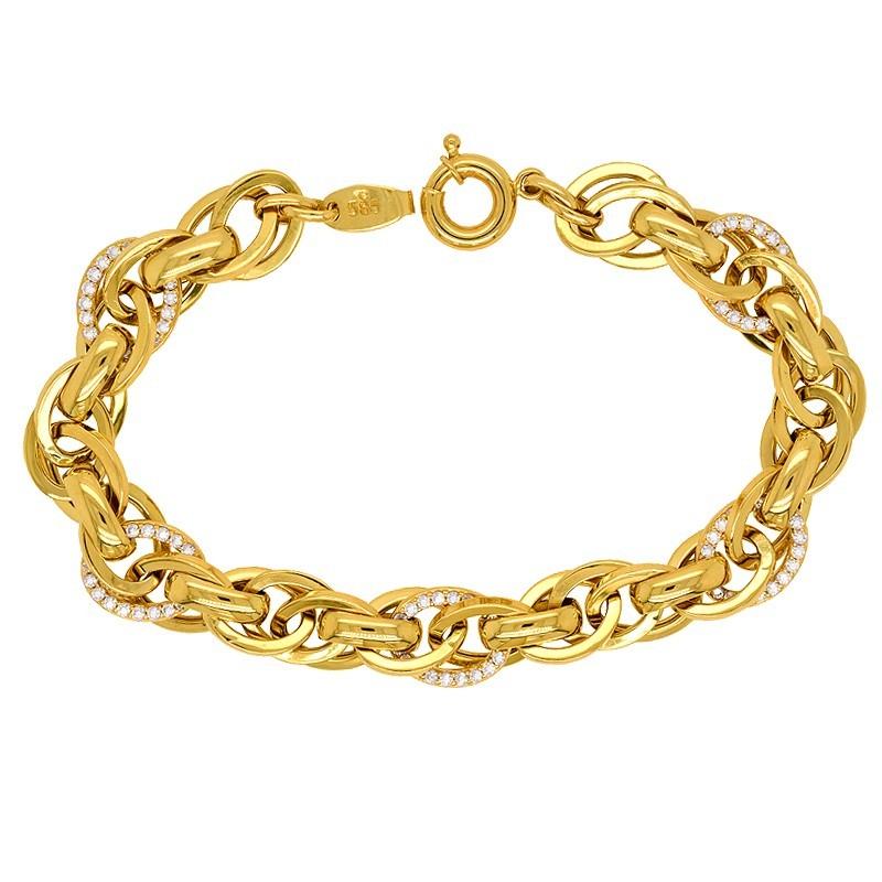 Złota bransoletka gęste koła z cyrkoniami