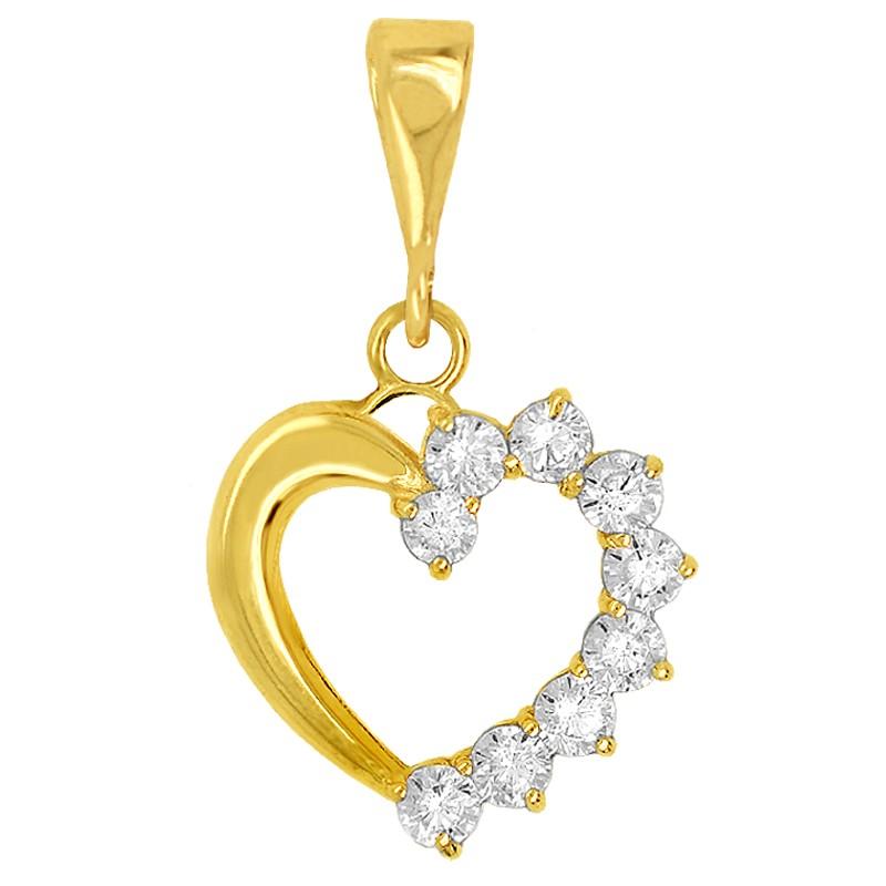 Złote Serce z Cyrkoniami złoto 585