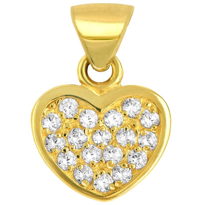 Złote Serce z Cyrkoniami Pełne złoto 585
