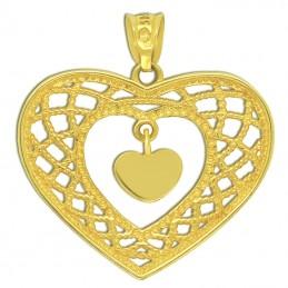 Złote Serce Ażurowe z białym złotem pr. 585