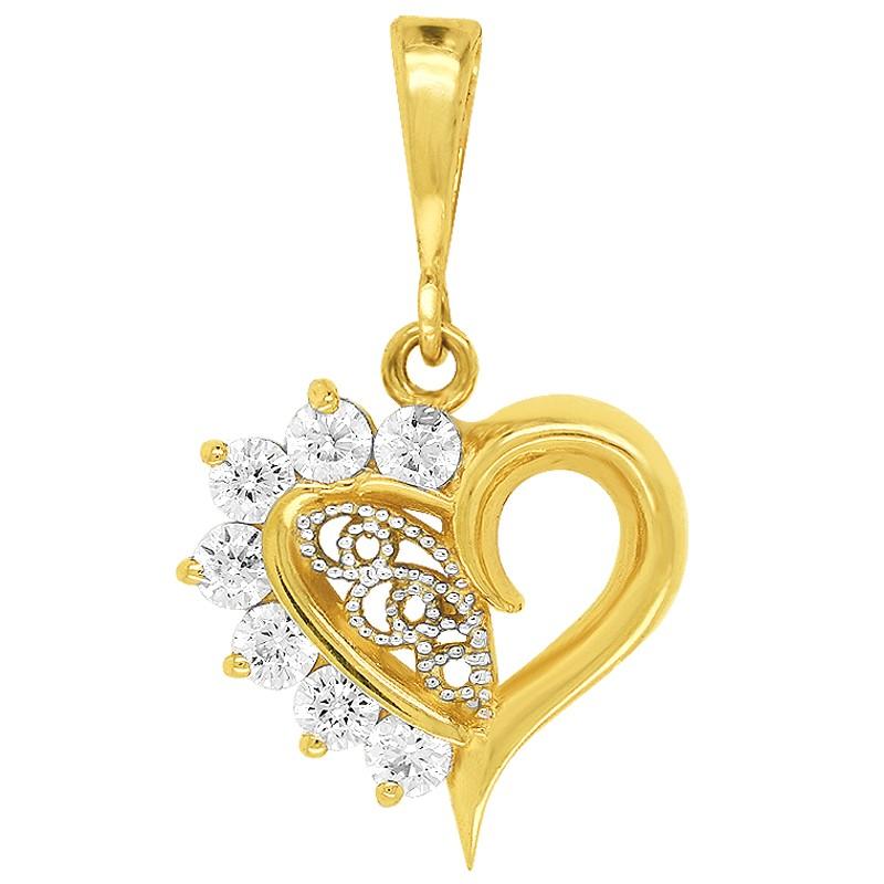 Złote Serce z Cyrkoniami i Ażurem złoto 585