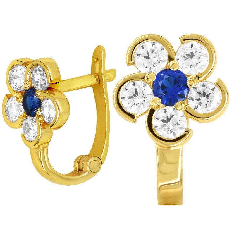 Złote kolczyki Blue Kwiatuszki z cyrkonią pr. 333
