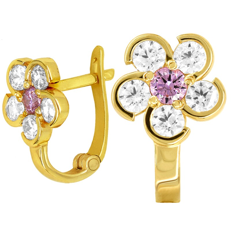 Złote kolczyki Pink Kwiatuszki z cyrkonią pr. 333