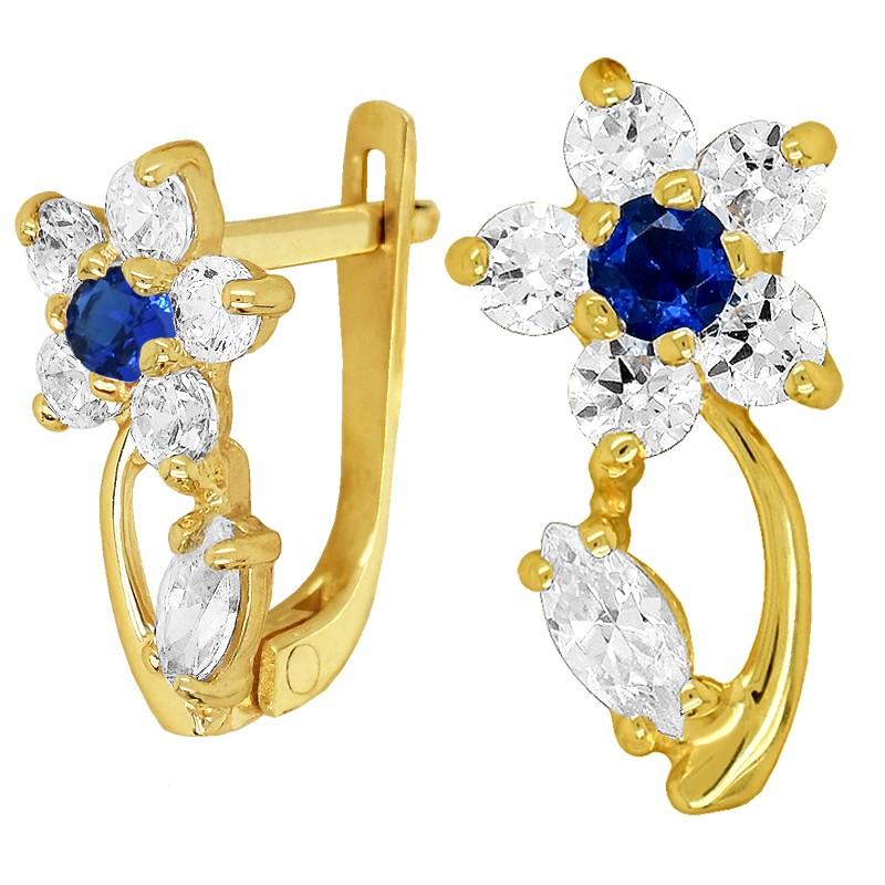 Złote kolczyki Blue Kwiatuszki z listkiem z cyrkonią pr. 333