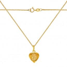 Zestaw złote Serce z Matką Bożą 3D M z łańcuszkiem Spiga 585