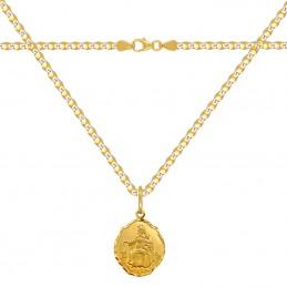 Zestaw Złoty łańcuszek pancerka i Szkaplerz, medalik MB z góry Karmel