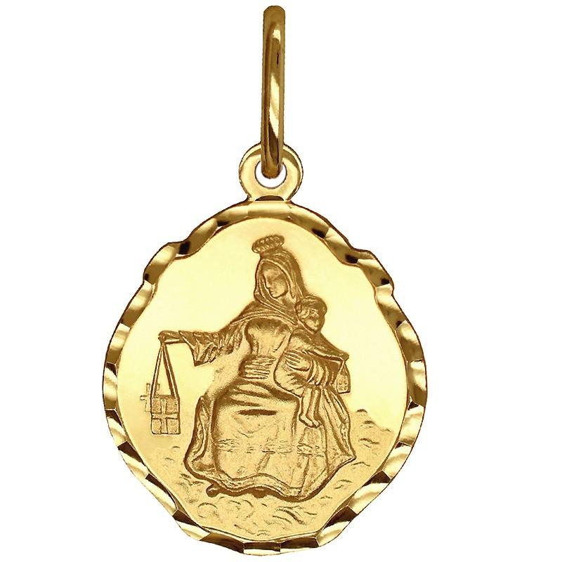 Złoty Szkaplerz, dwustronny medalik Matka Boża z góry Karmel