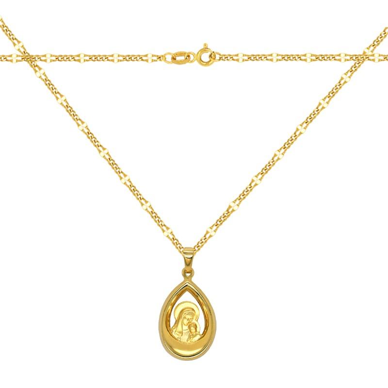 Zestaw złoty łańcuszek New Figaro i Matka Boża z Dzieciątkiem medalik łezka pr 585