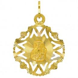 Zestaw złoty łańcuszek Spiga i medalik MB Częstochowska ażur pr 585