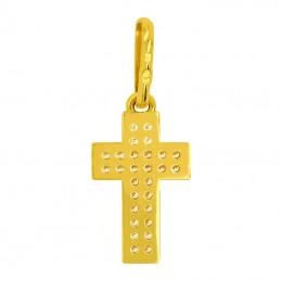 Złoty Krzyżyk z Cyrkoniami Dwurzędowy złoto 585