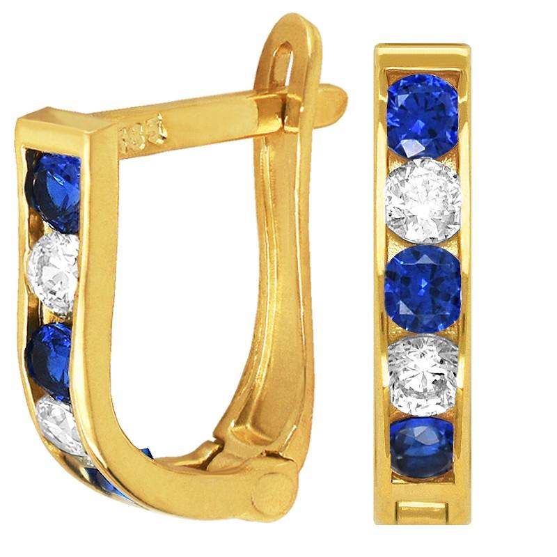 Złote kolczyki dróżka Blue z cyrkoniami  pr. 585