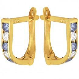 Złote kolczyki dróżka Light Blue z cyrkoniami  pr. 585