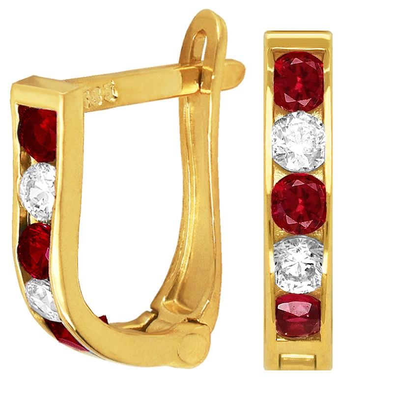 Złote kolczyki dróżka Rose z cyrkoniami  pr. 585