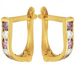 Złote kolczyki dróżka Pink z cyrkoniami  pr. 585