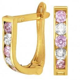 Złote kolczyki dróżka Pink...