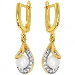 Złote kolczyki wiszące z perełkami pr.585