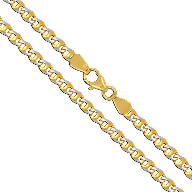 Złoty Łańcuszek splot pancerka szlifowana z białym, 2,68g złoto 585