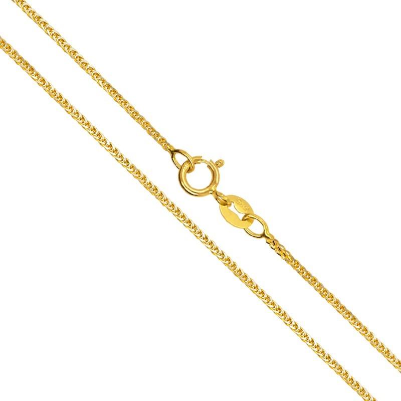 Złoty Łańcuszek splot Spiga szlifowana z białym 1,40g złoto 585