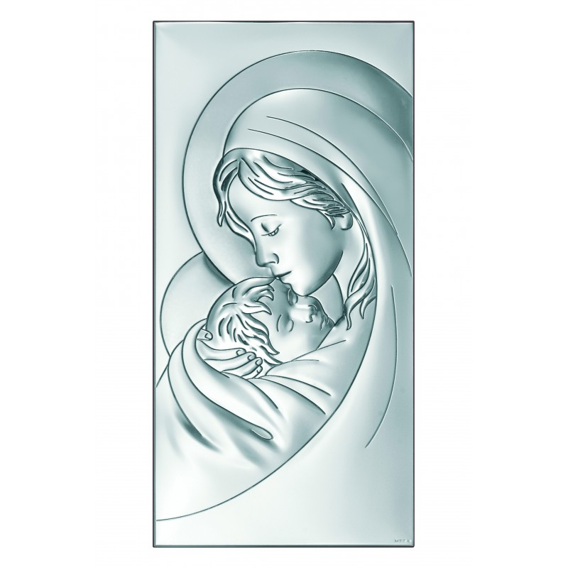 Obrazek Srebrny Matki Bożej  z Dzieciątkiem Jezus 6x12cm