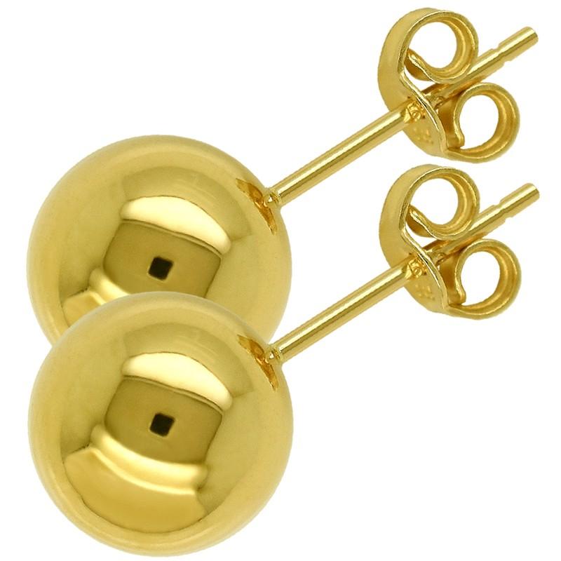 Złote Kolczyki Kule sztyft L złoto 585