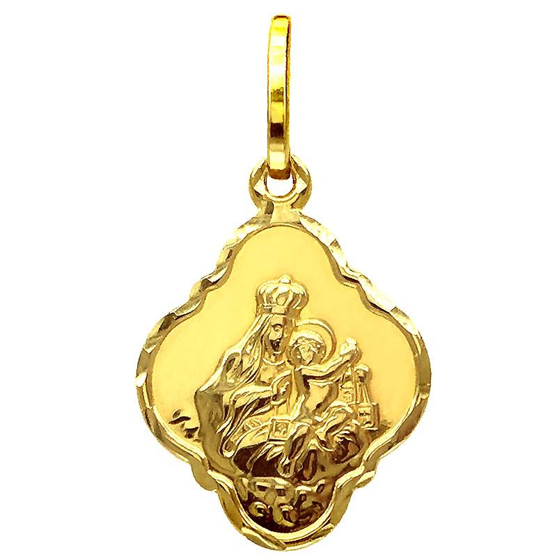 Złoty Szkaplerz, dwustronny medalik Matka Boża z góry Karmel S