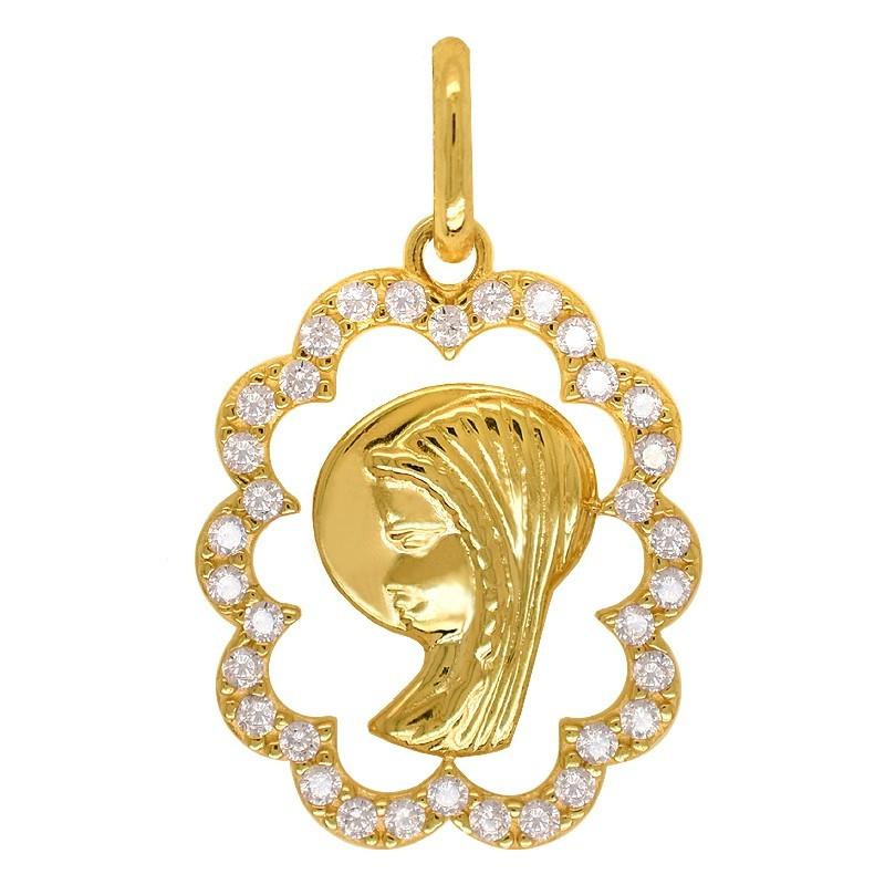 Złoty Wizerunek Matki Bożej z Cyrkoniami złoto 585