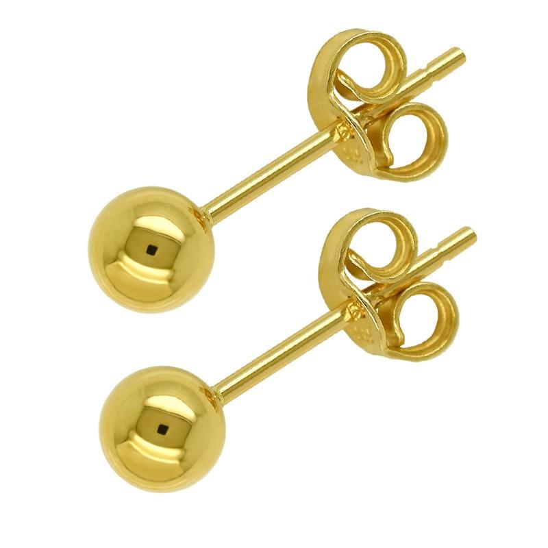 Złote Kolczyki Kule sztyft S złoto 585