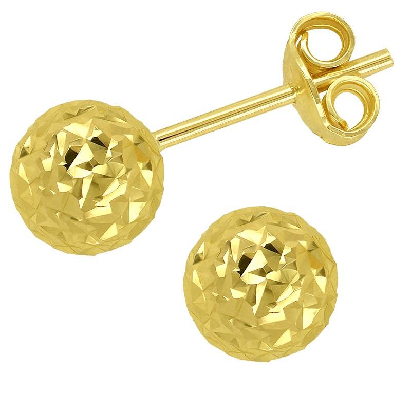Złote Kolczyki Kule Grawerowane sztyft L złoto 585