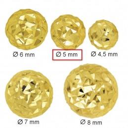 Złote Kolczyki Kule Grawerowane sztyft MS złoto 585