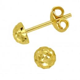 Złote Kolczyki Półkule Grawerowane sztyft MS złoto 585