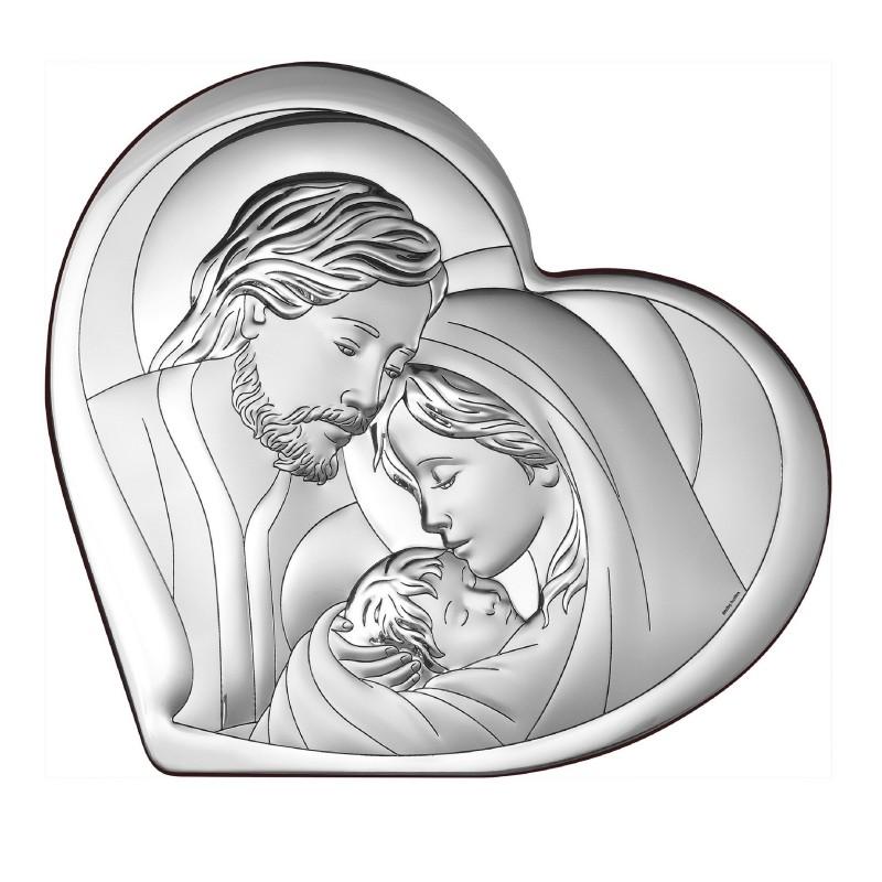 Obrazek Srebrny z wizerunkiem Świętej Rodziny 11x9,6cm