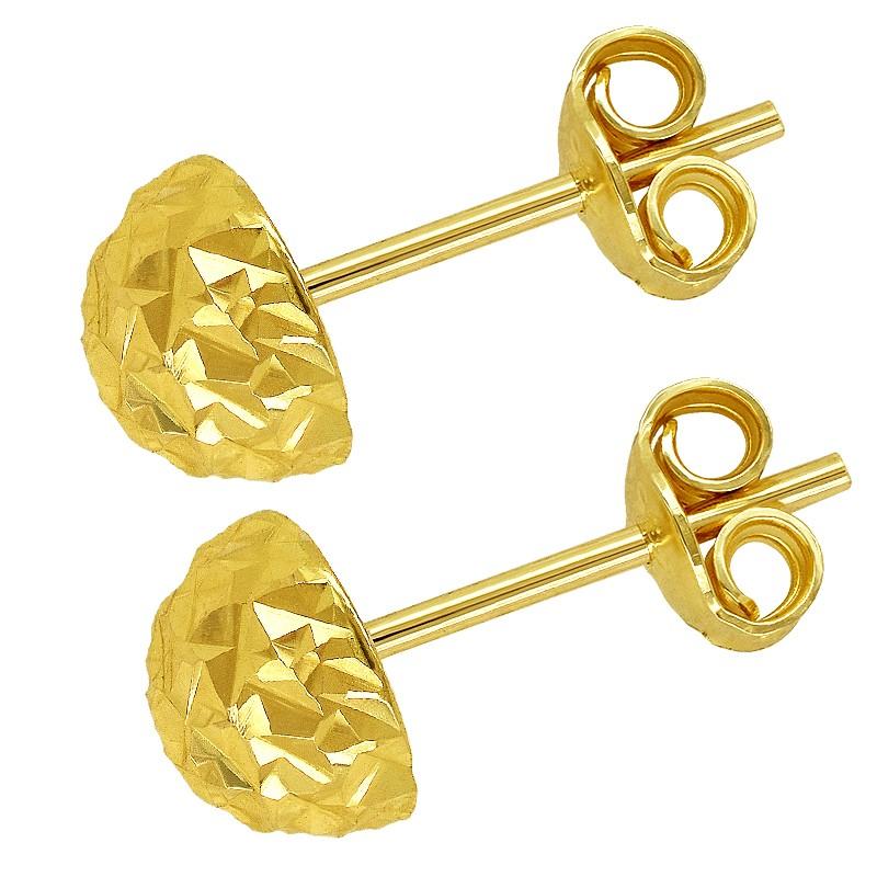 Złote Kolczyki Półkule Grawerowane sztyft L złoto 585