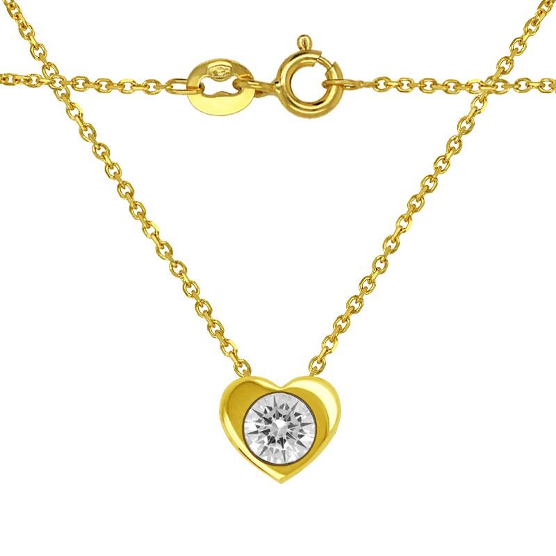 Zestaw złote Serce z Cyrkonią z łańcuszkiem Ankier 585
