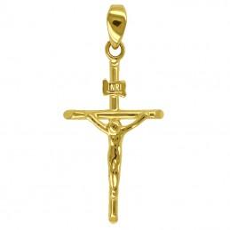 Złoty Krzyżyk typ Papieski z figurką Jezusa 0,89g pr. 585