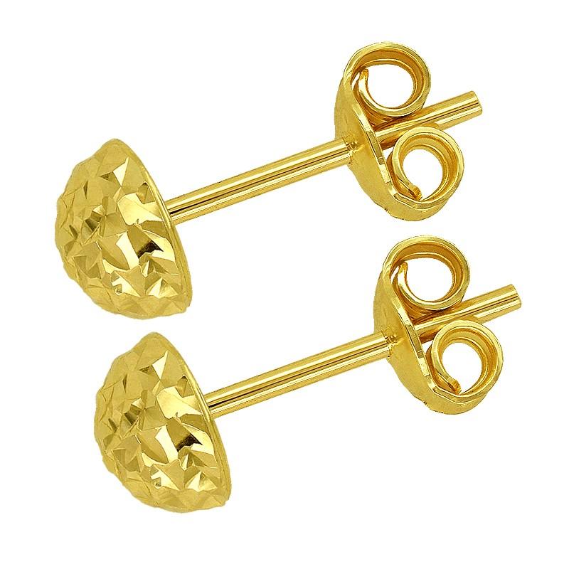 Złote Kolczyki Półkule Grawerowane sztyft M złoto 585