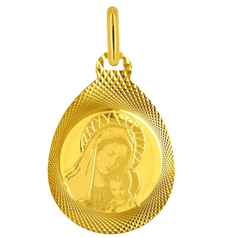 Złoty medalik Matka Boża Pamiątka Komunii św. 0,8g pr 585