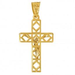 Złoty Krzyżyk Pamiątka Komunii z figurą Jezusa Chrystusa z białego złota 585
