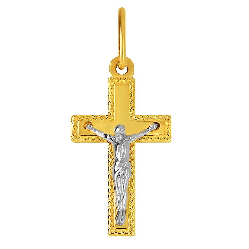Złoty Krzyżyk Pamiątka Komunii Ozdobny z figurą Jezusa Chrystusa białe złoto 585