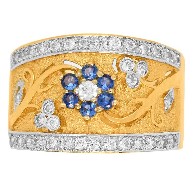 Złoty Pierścionek Szeroki wzór Kwiatowy Szafirowy złoto 585