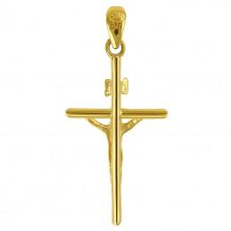 Złoty Krzyżyk Pamiątka Komunii typ Papieski z figurką Jezusa 0,89g pr. 585
