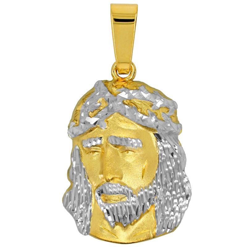 Złoty Medalik Pamiątka Komunii Głowa Jezusa Chrystusa L złoto 585