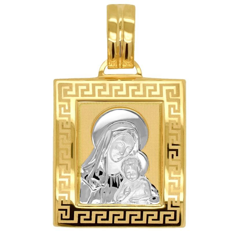 Pamiątka Komunii Matka Boża z Dzieciątkiem medalik kwadrat L z białym pr 585
