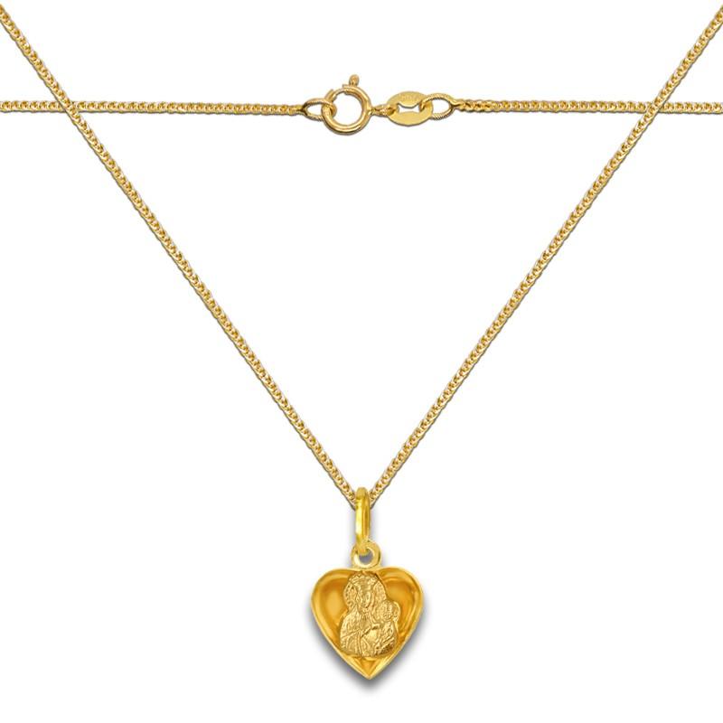 Pamiątka Komunii Zestaw złote Serce z Matką Bożą 3D M z łańcuszkiem Spiga 585