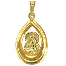 Pamiątka Komunii Zestaw złoty łańcuszek New Figaro i Matka Boża z Dzieciątkiem medalik łezka pr 585